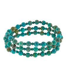 turquoise beads bracelet images Jay king 3 row turquoise bead stretch bracelet 8758906 hsn jpg