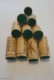 green with decor ornament made with wine corks