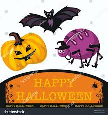 cute happy halloween images greeting cute halloween bat spider pumpkin stock vector 38412400