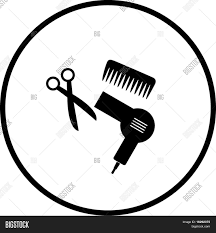haircut or hair salon symbol 2 stock vector u0026 stock photos bigstock