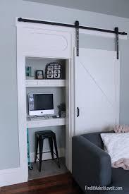 Barn Door Office by Closet Turned Office Space Find It Make It Love It