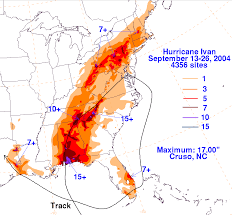 Rainfall Totals Map Hurricane Ivan September 2 26 2004