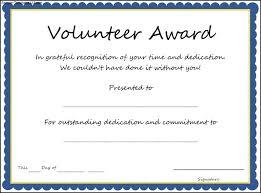volunteer certificate template simple volunteer award template