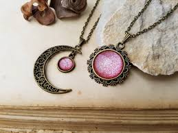 2 sun and moon necklaces friendship necklaces matching