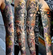 awesome sleeve tattoo awesome nightmare before christmas tattoo by desi lou