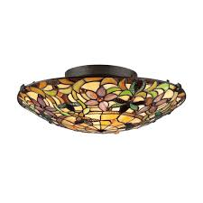 stained glass ceiling light fixtures quoizel tiffany style 2 light vintage bronze stained glass flush