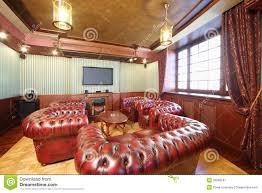english cigar room with red leather armchairs stock image image