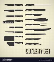 set of kitchen knives cutlery set and kitchen knives royalty free vector image