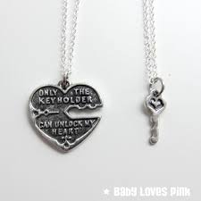 unlock my heart silver couple u0027s necklace heart and key