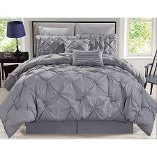 Gray Bed Set 8 Rochelle Pinched Pleat Gray Comforter Set Walmart