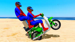 funny motorbike and cars in spiderman cartoon for kids with
