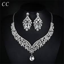 necklace set white images Luxury jewelry white gold color cz wedding necklace and earring jpg