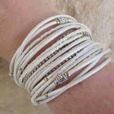 white leather bracelet images Pearl white leather wrap bracelet with silver accents and pearl
