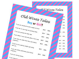 the old wives tale gender reveal baby shower game magical printable