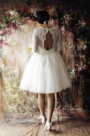 short lace wedding dress with sleeves and open back tea length