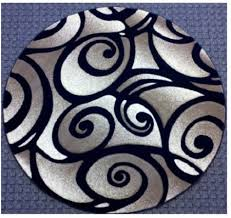 Modern Style Rugs Black Area Rugs Grey 3d Spirall Pattern Contemporary Fancy