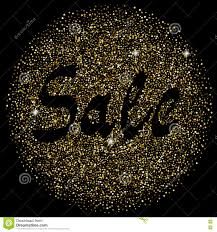 halloween glitter background gold sparkles circle with shadow sale text on black background