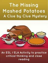 thanksgiving mystery activity the missing mashed potatoes by