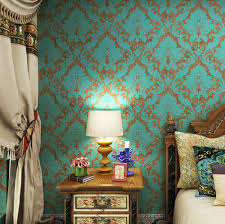 Wallpaper For Home by Haokhome 600906 Non Woven Vintage Blue Bronze Damask Wallpaper For