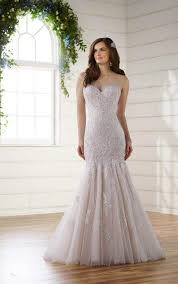lace trumpet plus size wedding gown with tulle skirt essense of