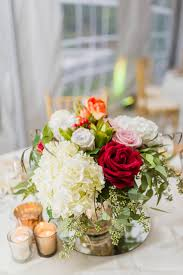 White Roses Centerpieces by White Hydrangea And Red And Pink Rose Centerpieces Flowers