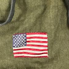 Military Flag Patch Vintage Army Green Drawstring Pouch Old Boy Scout Cloth Bag W