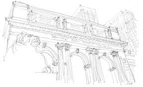 new york public library sketch drawing by calvin durham