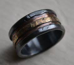 manly wedding bands mens wedding band rustic silver copper and brass handmade