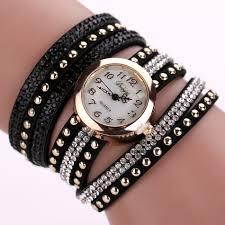 ladies watches bracelet style images Punk style bracelet watch fashion rivet luxury rhinestone bangle jpg