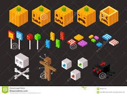isometric halloween items set stock vector image 58494770