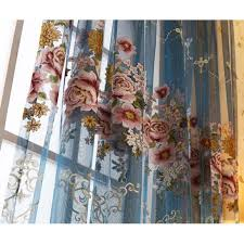 Blue Floral Curtains Floral Luxury Beautiful Yarn Custom Window Sheer Curtains