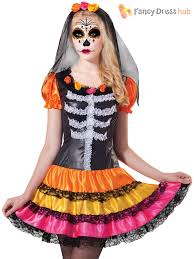 Ladies Skeleton Halloween Costume by Ladies Day Of The Dead Halloween Skeleton Fancy Dress Costume Size