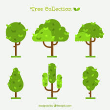 tree collection in flat design vector free