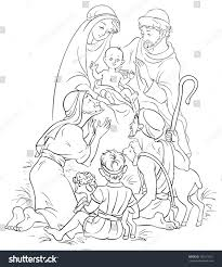 nativity scene jesus mary joseph shepherds stock vector 165171251