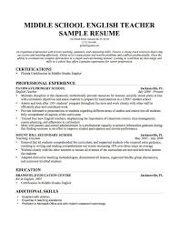 Sample Teacher Resume No Experience Resume English Teachers Resume
