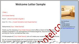 welcome letter for hotel guests
