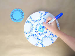 painted blue white plates housebeautiful feature