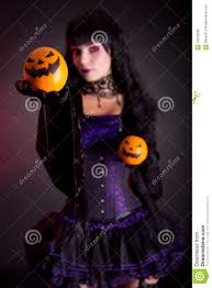 gothic halloween costumes beautiful witch in purple gothic halloween costume royalty free
