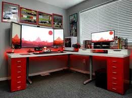 U Shaped Gaming Desk by The Colour Love The Set Up Change Far Right Screen For