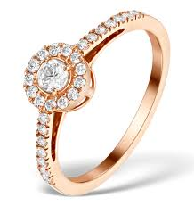 martini rose halo engagement ring martini diamond 0 45ct ring in 9k rose gold