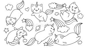 unicorn cats flying with and clouds for design