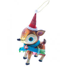 vintage style reindeer glass christmas tree decoration 15cm by