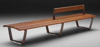 nuvola straight bench and wood table seating system id metalco