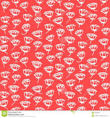floral pattern with small white roses on coral red royalty free
