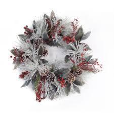 29 flocked pine cones berries pine wreath