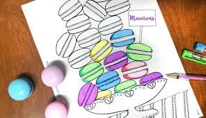 free printable macarons coloring page for grown ups