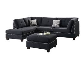 Black Sectional Sofa With Chaise Poundex Bobkona Viola Linen Like Polyfabric Left Or
