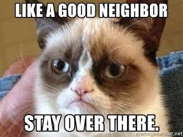 Angry Cat Meme Good - like a good neighbor stay over there angry cat meme meme
