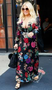 lady gaga dressed normal for halloween jessica simpson spotted stepping out in plunging floral maxi dress