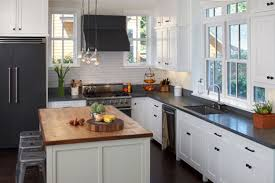 black and white kitchens ideas black granite countertops and white brick wall theme connected by